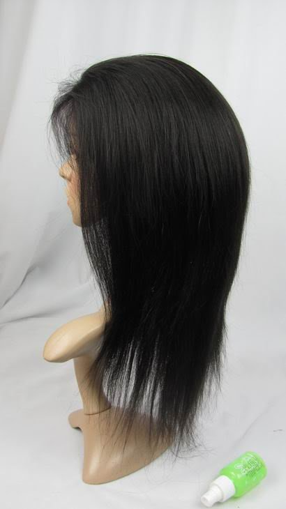 """front lace wig remy human hair 12"""" 1b# silky straigt"""