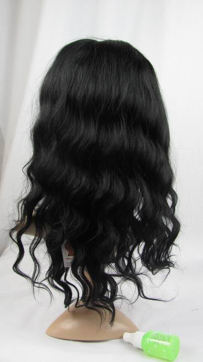 """100% indian remy hair lace front  wig human hair 14"""" 1# body wave"""