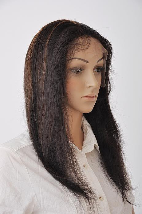 "indian remy human hair 14"" 1b-30# silky straight full lace wig"