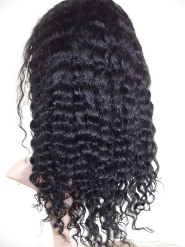 "16"" 1# water wave indian remy human hair front lace wig"