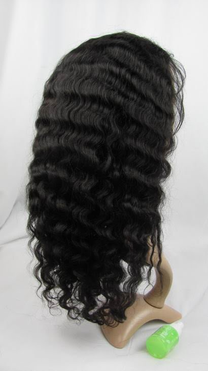 """front lace wig remy human hair 16"""" 1b# deep wave hot!"""