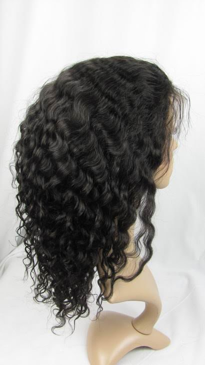 """front lace wig remy human hair 14"""" 1b# deep wave hot!"""