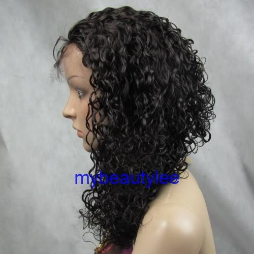 "indian remy human hair full lace wig 16"" 2# curly"
