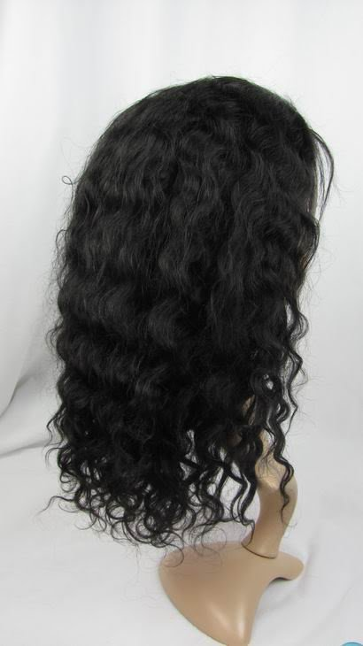 full lace wig indian remy human hair 12''1b# deep wave