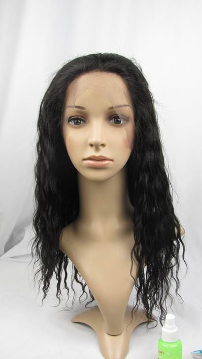 indian remy human hair 14'' 1b# body wave full lace wig