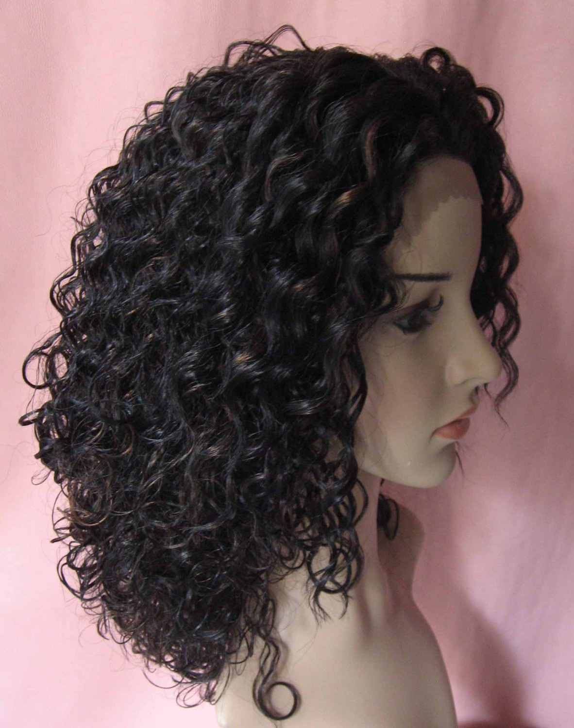 Exostic tight curl 16inch lace front wig 1b/30