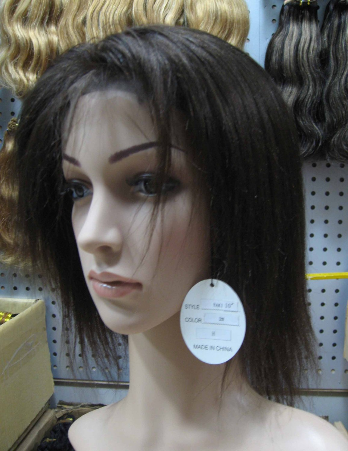 """indian remy human hair full lace wig 10"""" 2# yaki"""