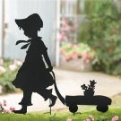 Girl & Wagon Shadow Silhouette Stake
