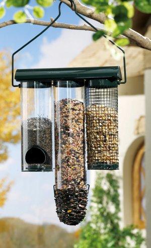 Hanging Birdfeeder With Three Separate Feeders