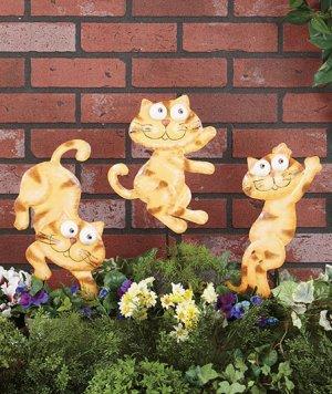 Metal Cat Garden Stakes Set of 3