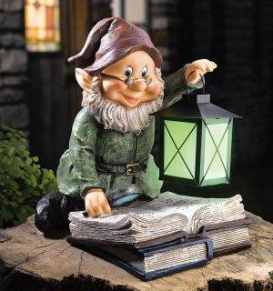 Glowing Lantern Storybook Gnome Yard Garden Decor