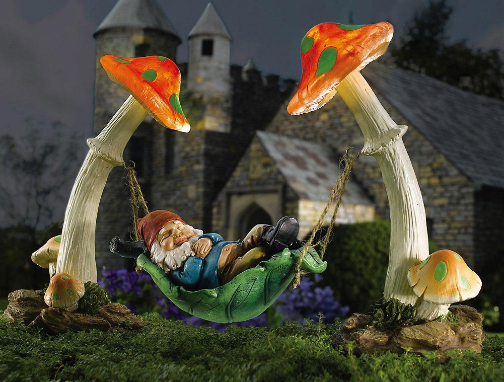 Sleeping Gnome Solar Mushrooms Yard Garden Decor