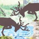 Pair of Deer Shadow Silhouette Stakes