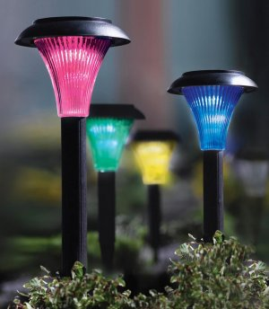 4 Color Changing Solar Garden Light Stakes