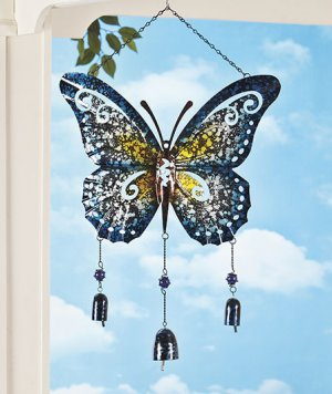 Giant Metal Blue Butterfly Wind Chime