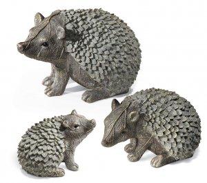 Gray Hedgehog Family Garden Yard Decor