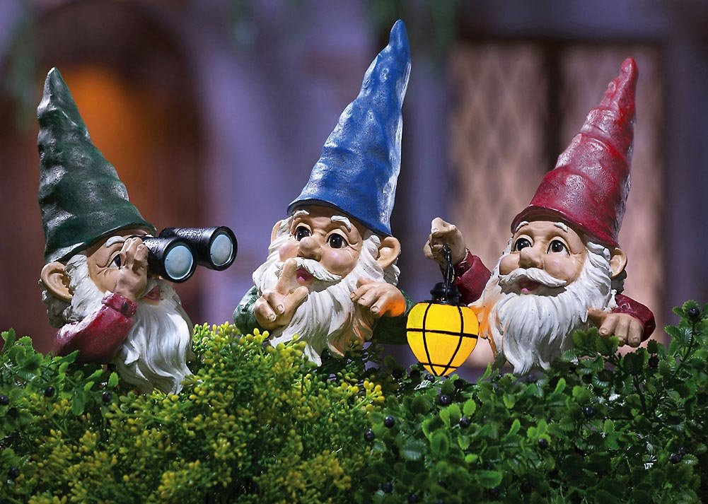 Peeping Gnomes with Lighted Lantern Stakes