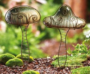 Ceramic Mushrooms Garden Stake