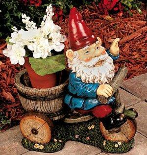 Gnome on Bike Flowerpot Holder