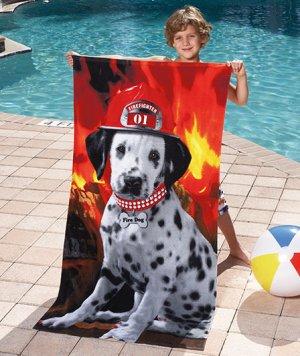 Dalmatian Fire Dog Beach Towel