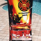 Firefighter Fire Truck Beach Towel