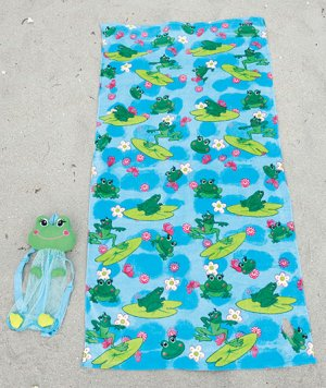2-Pc. Beach Buddy Frog Towel Set