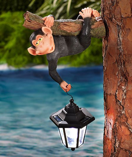 Monkey Hanging Tree Hanger With Solar Lantern