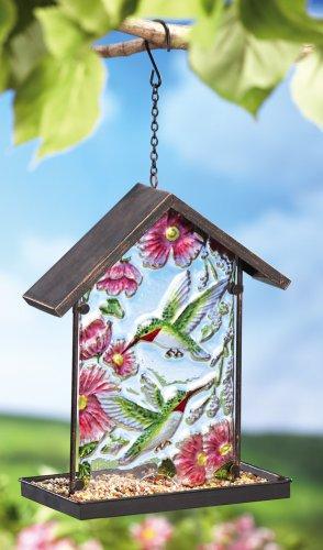 Glass & Metal Hummingbird Design Bird Feeder