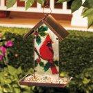 Glass Cardinal Bird Feeder