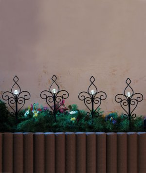 Decorative Scroll Solar Lighted Stake Set