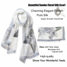 Sexy Beautiful Gray Floral Long Silk Scarf /Shawl/Wraps