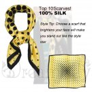 Polka Dot Large Square Twill Silk Scarf, Sunny Yellow