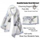 Sexy Beautiful Gray Floral Long Silk Scarf /Shawl/Wraps