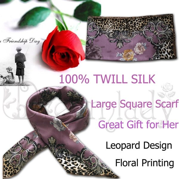 Beautiful Floral Leopard Large Square Twill Silk Scarf in Light Purple