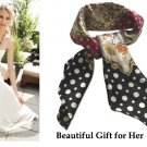 Beautiful Colorful Polka Dot Floral 100% Pure Twill Silk Large Square Scarf