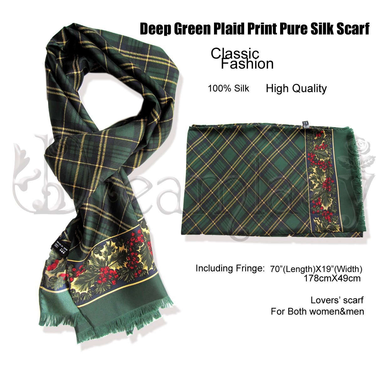 Fantastic Vintage Deep Green Unisex Plaid Print Pure Silk Scarf/Shawl