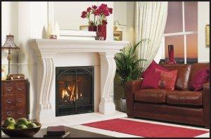 "74"" Chateau Series Jordana Stone Fireplace Mantel Mantle"