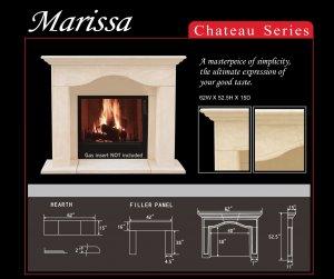 """62"""" Chateau Series Marissa Stone Fireplace Mantel Mantle"""