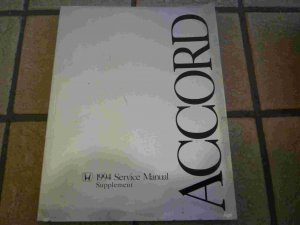 1994 Honda Accord Official Factory Service Manual Supplement