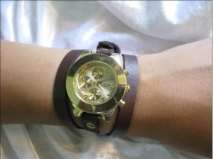 Handmade Leather Wrap Bracelet Watch with a lovely pattern WORLDWIDE FREE SHIPPING