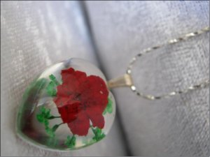 Handmade Necklace with dried pressed real flowers Worldwide Free Shipping