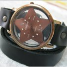 Handmade Dark Brown Leather Wrap Bracelet Watch with a lovely pattern WORLDWIDE FREE SHIPPING