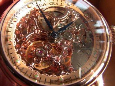Steampunk skeleton Mechanical Watch Genuine leather Watch SeaGull full skeleton pattern Free Ship