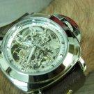 Silver Gold Men Women Bracelet Leather watch Wrap Wrist Watch Skeleton Mechanical steampunk Army