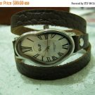 Brown Leather Wrist Watch, Women's Wrist Watch, Leather Wrap Watch, Natural Brown Leather Watch