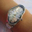 Personalized watch Elegant Wavy Time Warp silver Ladies Watch Dali Fluid Leather Wrap Watch