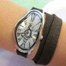 Salvador Dali Silver Fluid Leather Watch Brown Leather , Leather Watch band, Unisex Leather Watch