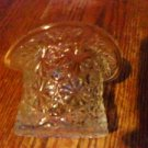 Vintage Daisy & Button Top Hat Clear Glass Vase