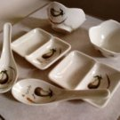 6 Piece  Asian Eggplant  Melamine Set