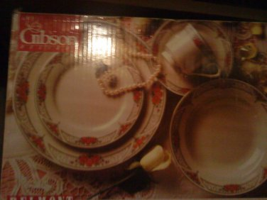 20 PC GIBSON {BELMONT}FLORAL  FINE CHINA DINNER WARE ROSE WITH SILVER TRIMS SET